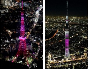 Tokyo Tower (left) Sky Tree (right)
