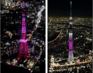 Tokyo Tower (left) Sky Tree (right)