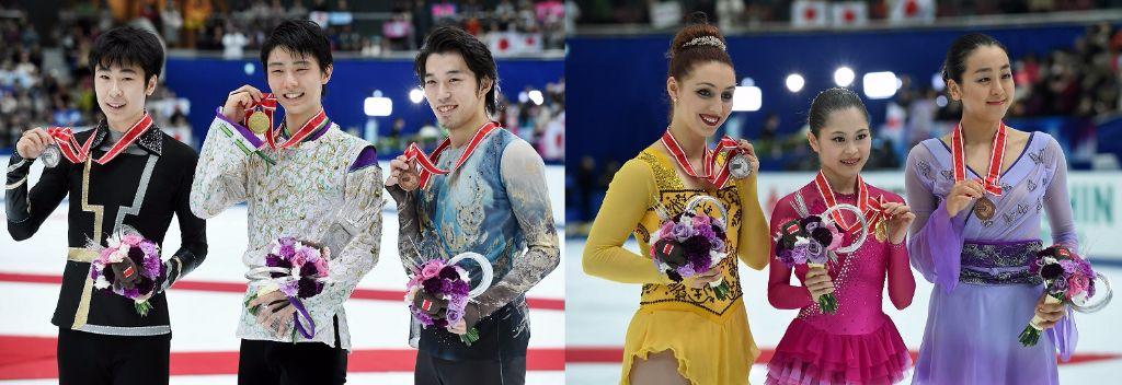 Yuzuru Hanyu and Satoko Miyahara 1st, Takahito Mura and Mao Asada 3rd at NHK Trophy