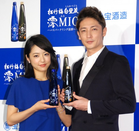 Mao Inoue and Hiroshi Tamaki attend press conference for Shirakabe Gura MIO Sparkling CM