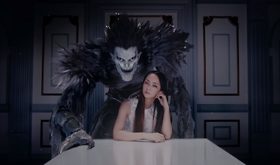 "Namie Amuro cozies up with Shinigami in ""Fighter"" PV"