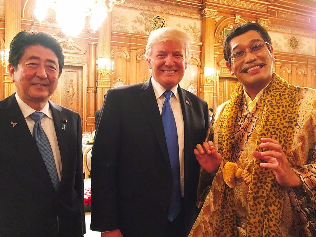 Piko-Taro meets Prime Minister Abe & President Trump