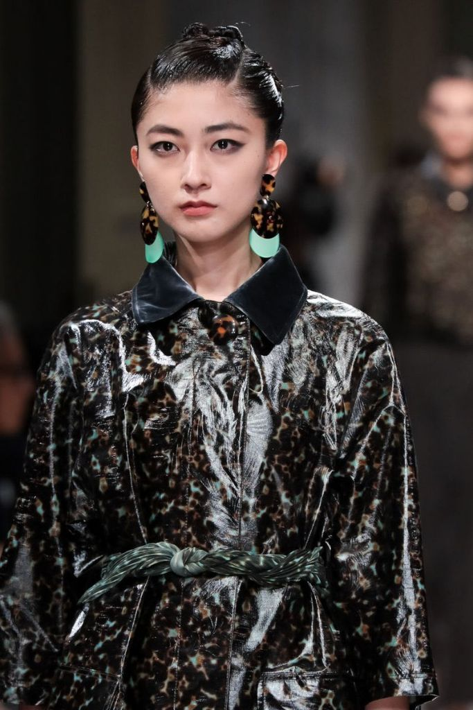 Berryz Kobo member Yurina Kumai walks the runway for Giorgio Armani