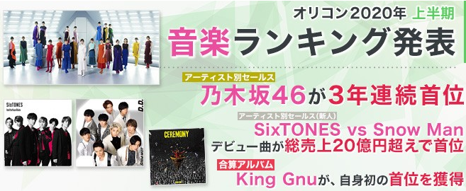 Oricon Releases Its 2020 Mid-Year Charts